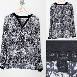 2/$30  Kenneth Cole Printed Black/White blouse - L